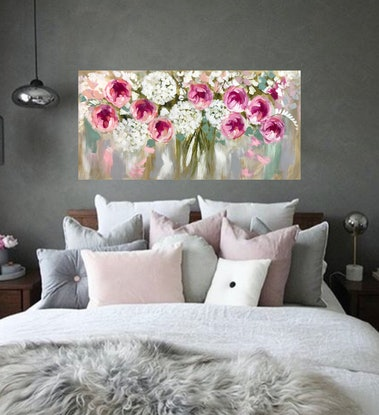 (CreativeWork) Full bloom peony and gum leaves  by Amanda Brooks. Acrylic Paint. Shop online at Bluethumb.