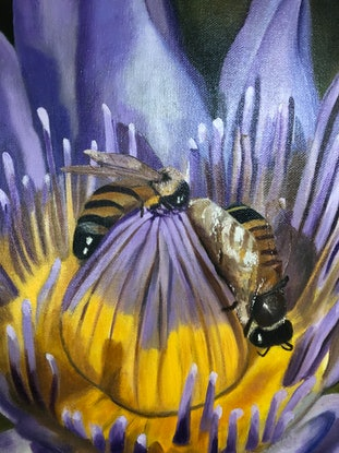 (CreativeWork) Pollen Gatherers by Bernadette McConville. Oil Paint. Shop online at Bluethumb.