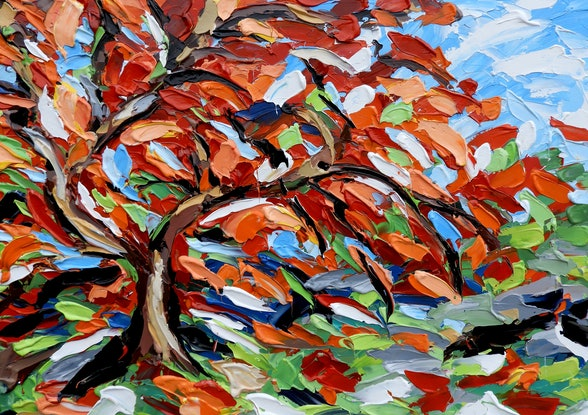 (CreativeWork) Maple Tree by Lisa Fahey. Acrylic Paint. Shop online at Bluethumb.