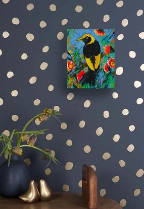 (CreativeWork) Regent Bowerbird by Katerina Apale. Acrylic Paint. Shop online at Bluethumb.