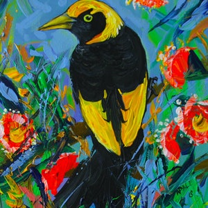 (CreativeWork) Regent Bowerbird by Katerina Apale. arcylic-painting. Shop online at Bluethumb.