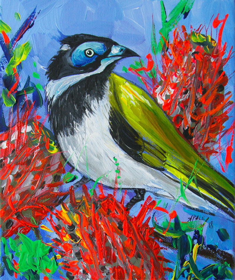 (CreativeWork) Blue-Faced Honeyeater by Katerina Apale. Acrylic Paint. Shop online at Bluethumb.