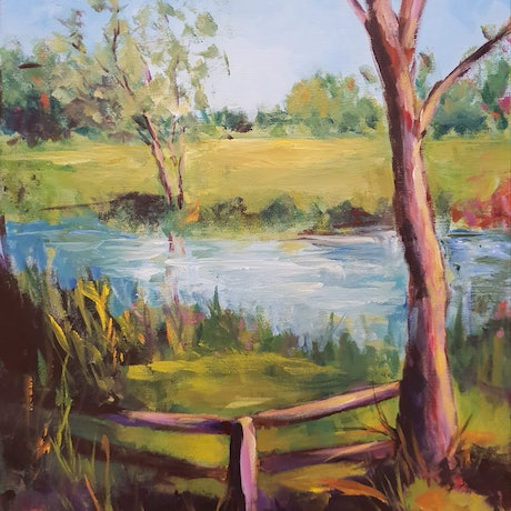 (CreativeWork) Skeleton Creek by Jenny Moynahan. Acrylic Paint. Shop online at Bluethumb.