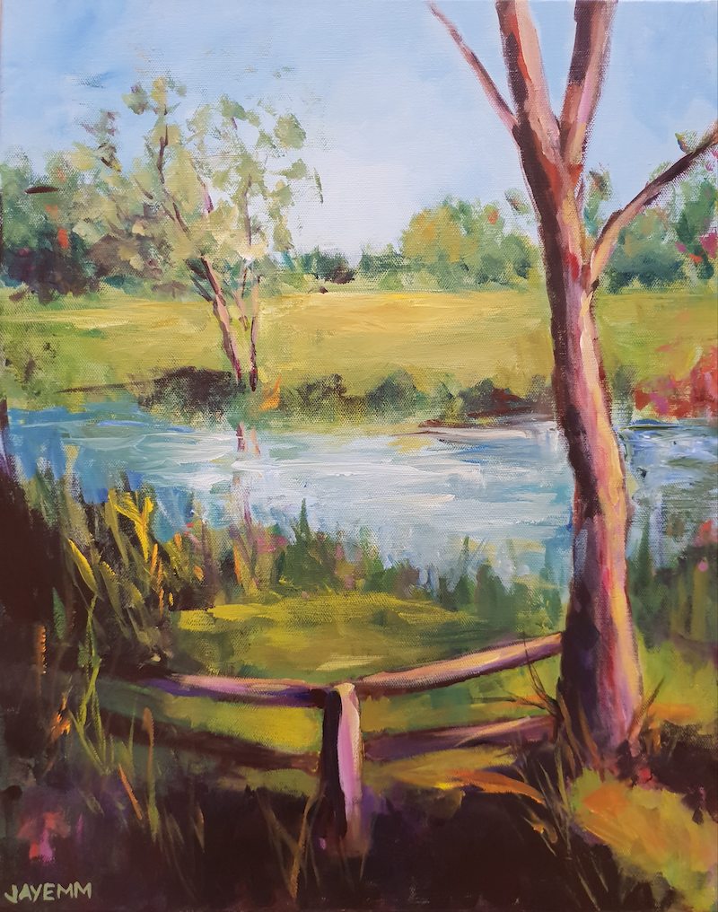 (CreativeWork) Skeleton Creek by Jenny Moynahan. acrylic-painting. Shop online at Bluethumb.