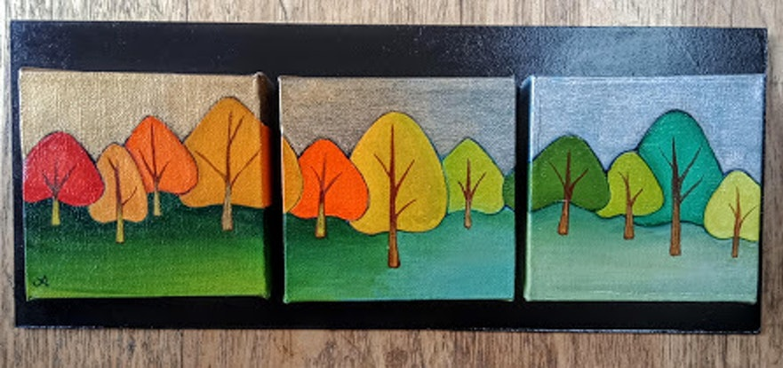 (CreativeWork) Trees by Jenny Albanis. Acrylic Paint. Shop online at Bluethumb.