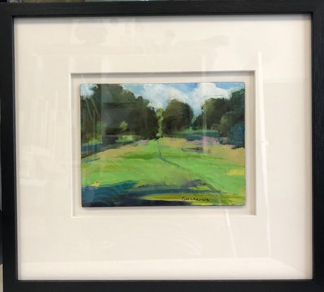 (CreativeWork) Blackford Hill Edinburgh, Small painting.  framed and ready to hang. Finalist Hunters Hill Art Prize 2019 by Gail McKenzie. Oil Paint. Shop online at Bluethumb.
