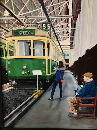 (CreativeWork) Memories at Hawthorn Tram Museum by Sylvia Barnes. Oil Paint. Shop online at Bluethumb.