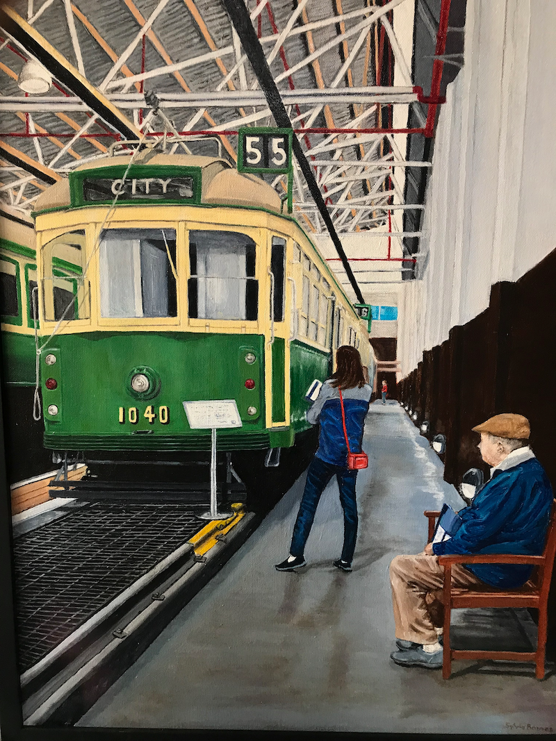 (CreativeWork) Memories at Hawthorn Tram Museum by Sylvia Barnes. oil-painting. Shop online at Bluethumb.