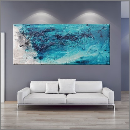 (CreativeWork) Southern Deep Ocean 190cm x 100cm Turquoise Blue Green textured FRANKO by _Franko _. Acrylic Paint. Shop online at Bluethumb.