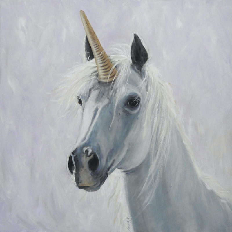 (CreativeWork) Unicorn by Naomi Veitch. Acrylic Paint. Shop online at Bluethumb.