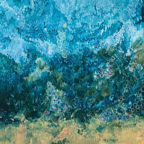 (CreativeWork) Watery Mirage by Renee Teau. Acrylic Paint. Shop online at Bluethumb.