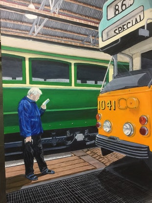 """(CreativeWork) Saved by the """"Z"""" Class Prototype Tram - Hawthorn Tram Museum. by Sylvia Barnes. Oil Paint. Shop online at Bluethumb."""