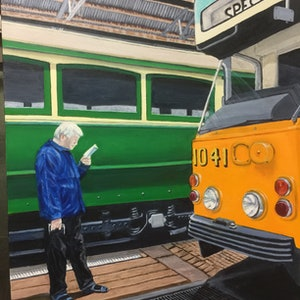 "(CreativeWork) Saved by the ""Z"" Class Prototype Tram - Hawthorn Tram Museum. by Sylvia Barnes. oil-painting. Shop online at Bluethumb."