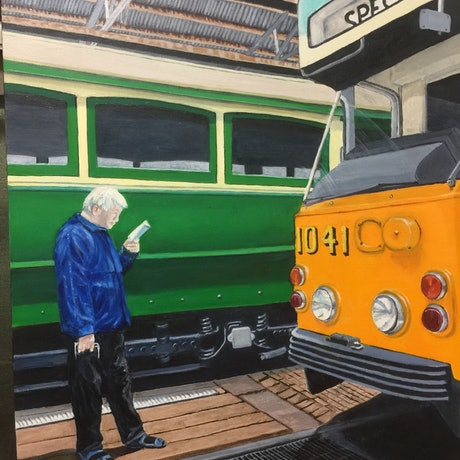"(CreativeWork) Saved by the ""Z"" Class Prototype Tram - Hawthorn Tram Museum. by Sylvia Barnes. Oil Paint. Shop online at Bluethumb."