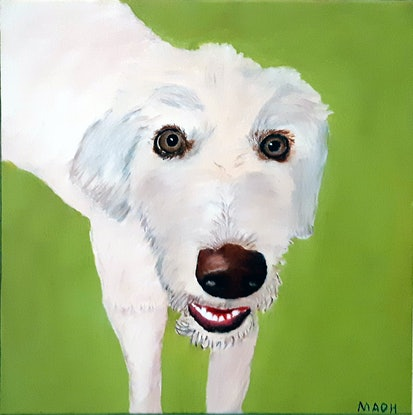 (CreativeWork) Number one dog by Mark O'Hara. Oil Paint. Shop online at Bluethumb.
