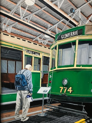 (CreativeWork) Interesting - Hawthorn Tram Museum by Sylvia Barnes. Oil Paint. Shop online at Bluethumb.