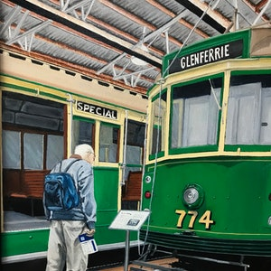 (CreativeWork) Interesting - Hawthorn Tram Museum by Sylvia Barnes. oil-painting. Shop online at Bluethumb.