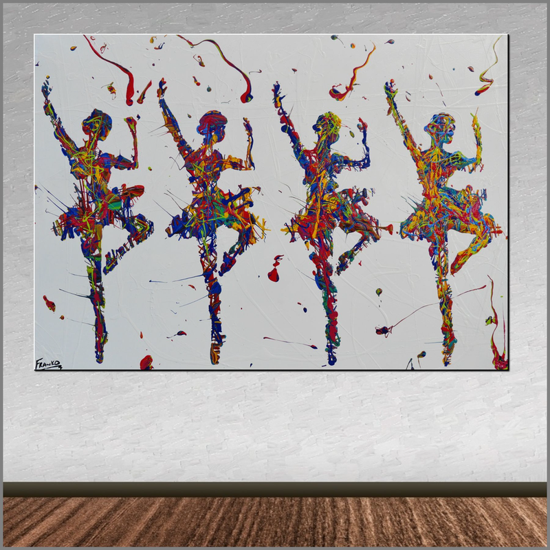 (CreativeWork) At the Ballet HUGE 140cm x 100cm Ballerina  FRANKO  by _Franko _. Acrylic Paint. Shop online at Bluethumb.