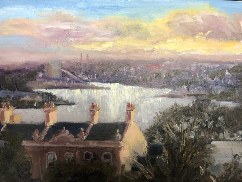 (CreativeWork) Observatory Hill looking west by Adam Mulcahy. Oil Paint. Shop online at Bluethumb.