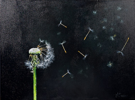 (CreativeWork) A Breeze and the Dandelion by MERON SOMERS. Acrylic Paint. Shop online at Bluethumb.
