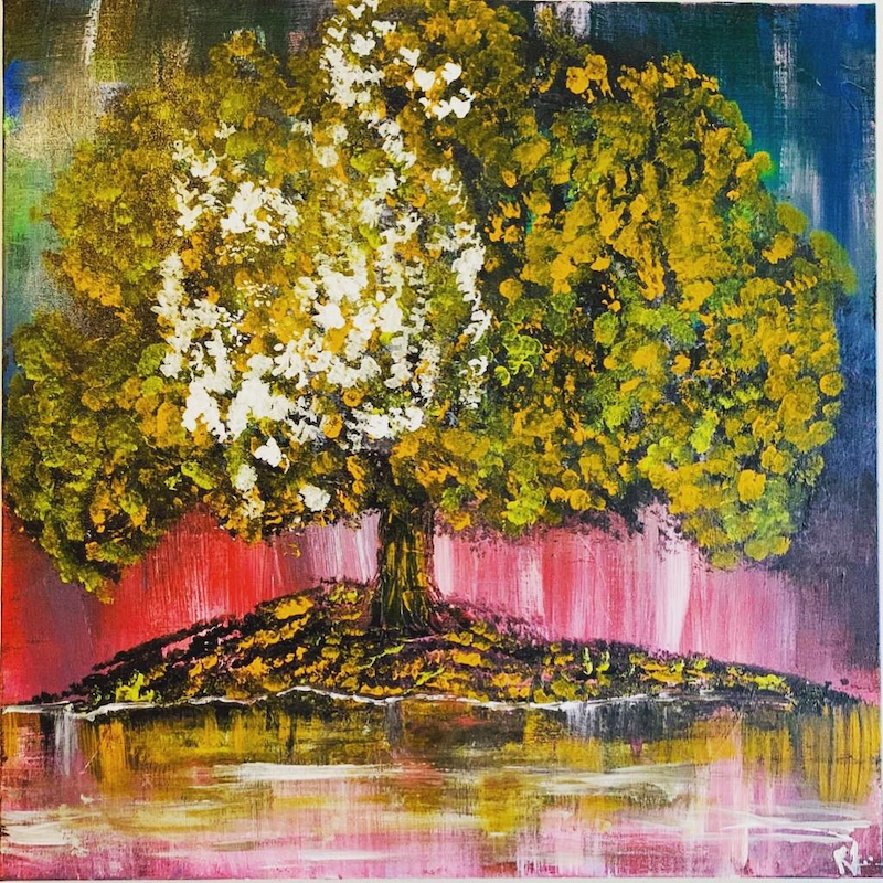 (CreativeWork) The Golden tree by Dr Ria Rushin Joseph. Acrylic Paint. Shop online at Bluethumb.