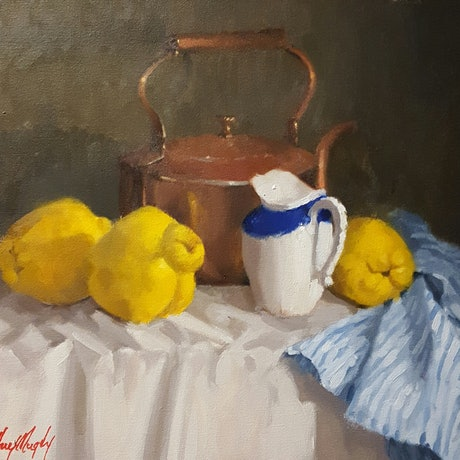 (CreativeWork) Quinces and a Copper Kettle by Jeffrey Murphy. Oil Paint. Shop online at Bluethumb.