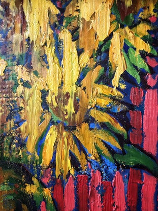 (CreativeWork) Sunflowers with Red Stripes by Leon Fernandes. Oil Paint. Shop online at Bluethumb.