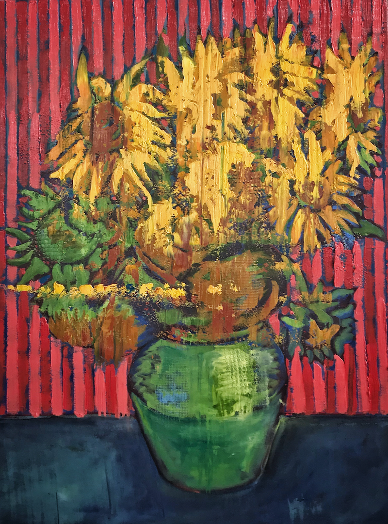 (CreativeWork) Sunflowers with Red Stripes by Leon Fernandes. oil-painting. Shop online at Bluethumb.