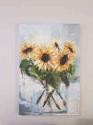 (CreativeWork) Sunflower vibes by Kathy Heron. Oil Paint. Shop online at Bluethumb.