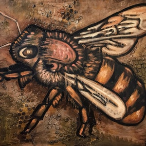 (CreativeWork) Bee (Brown background) by Leon Fernandes. oil-painting. Shop online at Bluethumb.