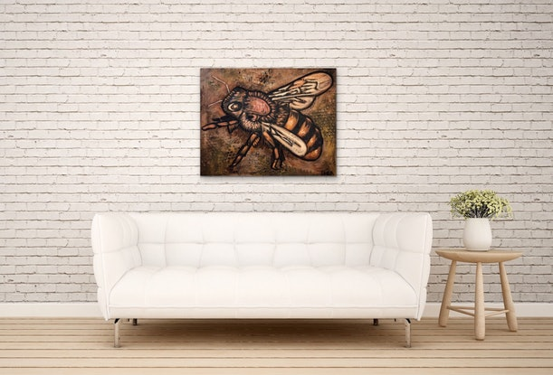 (CreativeWork) Bee (Brown background) by Leon Fernandes. Oil Paint. Shop online at Bluethumb.