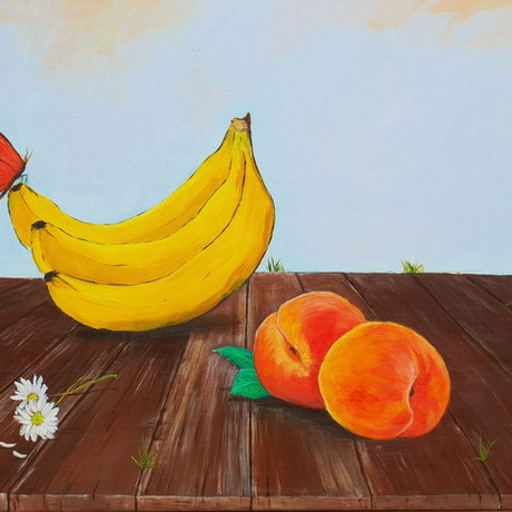 (CreativeWork) Peaches by Dasha Roach. Acrylic Paint. Shop online at Bluethumb.