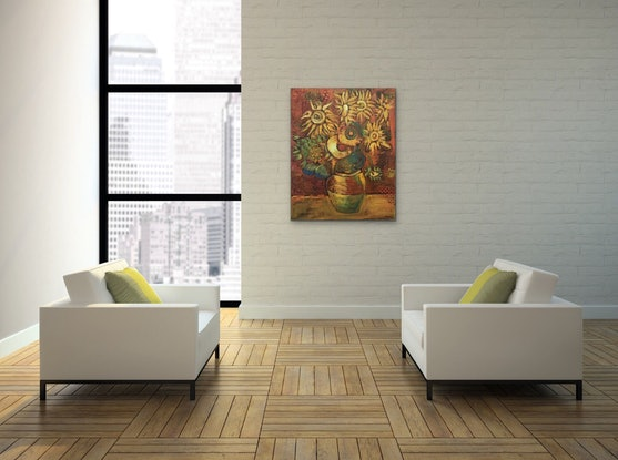 (CreativeWork) Ancient Sunflowers by Leon Fernandes. Oil Paint. Shop online at Bluethumb.