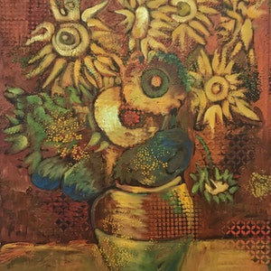 (CreativeWork) Ancient Sunflowers by Leon Fernandes. oil-painting. Shop online at Bluethumb.