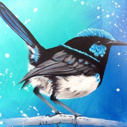 (CreativeWork) Courageous in blue by Emma Duck. Acrylic Paint. Shop online at Bluethumb.