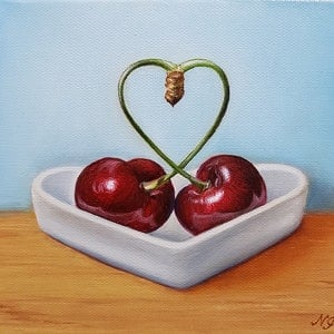 (CreativeWork) Heart cherries - Still life oil painting by Natasha Junmanee. oil-painting. Shop online at Bluethumb.