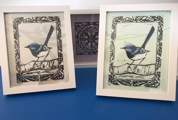 (CreativeWork) Blue Wren No:6/20 by Wendy Williams. Mixed Media. Shop online at Bluethumb.