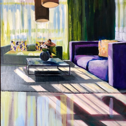 (CreativeWork) Light through the big window by Alison Pilcher. Acrylic Paint. Shop online at Bluethumb.