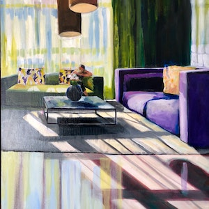 (CreativeWork) Light through the big window by Alison Pilcher. arcylic-painting. Shop online at Bluethumb.