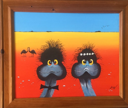 (CreativeWork) Doreen and Brian got married, a desert wedding by Geoff Lugg. Acrylic Paint. Shop online at Bluethumb.