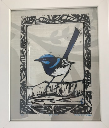 (CreativeWork) Blue Wren Lino Print No: 7/20  by Wendy Williams. Mixed Media. Shop online at Bluethumb.