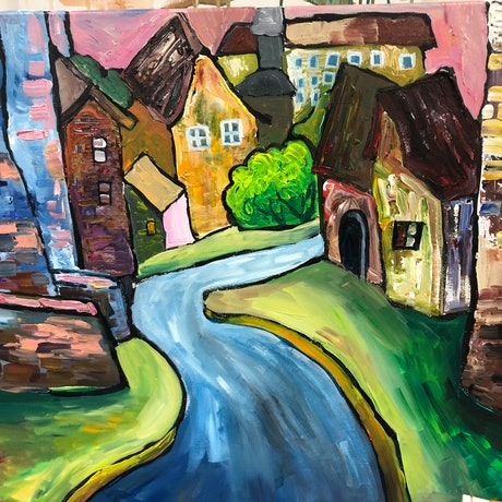 (CreativeWork) European Town  by Sandy Chen. Acrylic Paint. Shop online at Bluethumb.