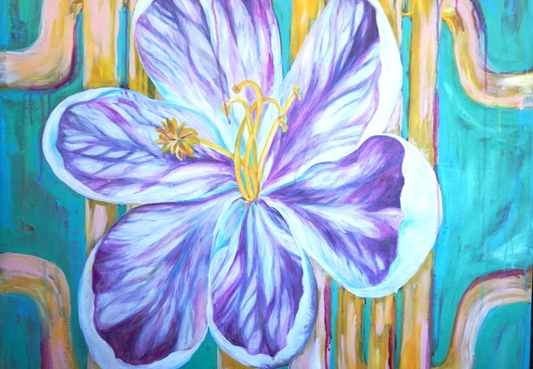 (CreativeWork) Fresh and Bright  Summer Flower by Sharon Cassidy. Acrylic Paint. Shop online at Bluethumb.
