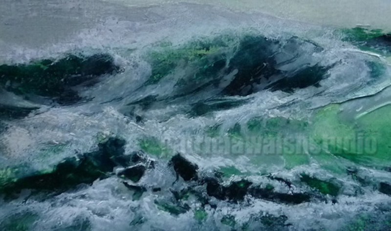 (CreativeWork) Emerald Tide | Contemporary Seascape by patricia walsh. Oil Paint. Shop online at Bluethumb.