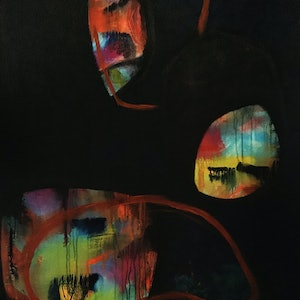 (CreativeWork) Partial Eclipse by Jo Roszkowski. arcylic-painting. Shop online at Bluethumb.