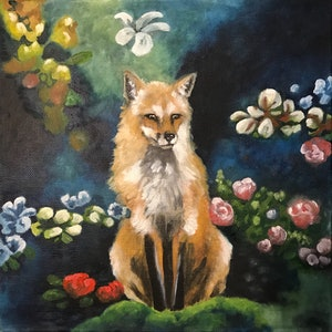 (CreativeWork) Fox and Flowers by Antoinette Stokell. oil-painting. Shop online at Bluethumb.