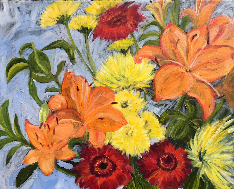 (CreativeWork) Spring Bouquet  by Colleen Michelle Connors. Acrylic Paint. Shop online at Bluethumb.