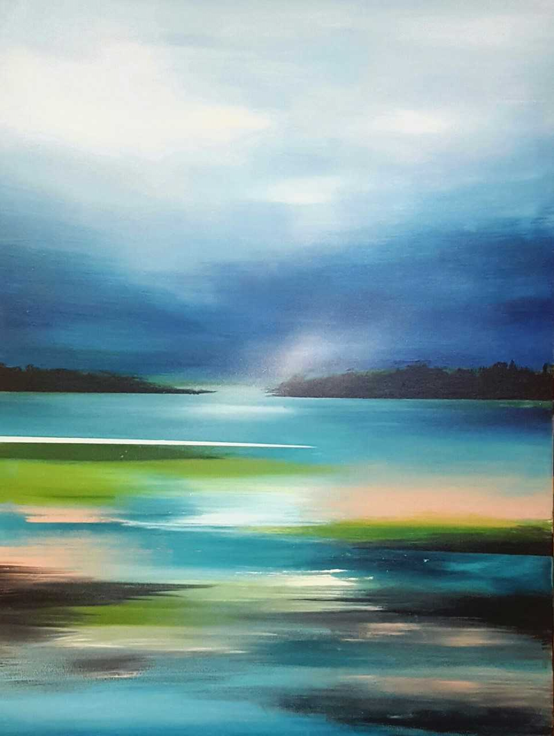 (CreativeWork) Luminous Lagoon by Alice Howell. oil-painting. Shop online at Bluethumb.