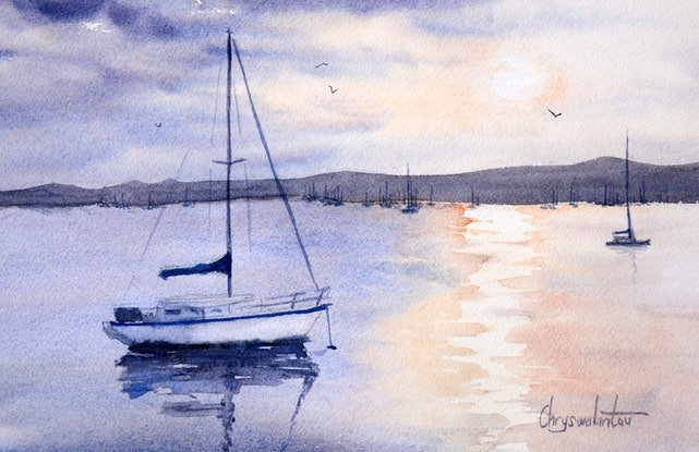 (CreativeWork) Boats on the Bay by Chrysovalantou Mavroudis. Watercolour Paint. Shop online at Bluethumb.