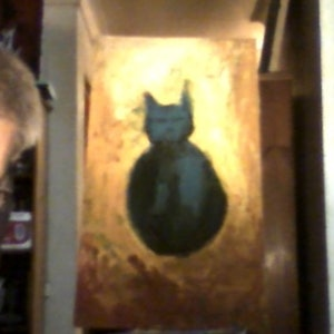 (CreativeWork) BLUE CAT by GIULIO IACOBINI. oil-painting. Shop online at Bluethumb.